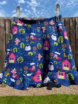 Farm Scene Jersey Flounce Skirt - 2-10 years