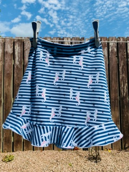 Jersey Flounce Skirt with Seahorses - 2-10 years