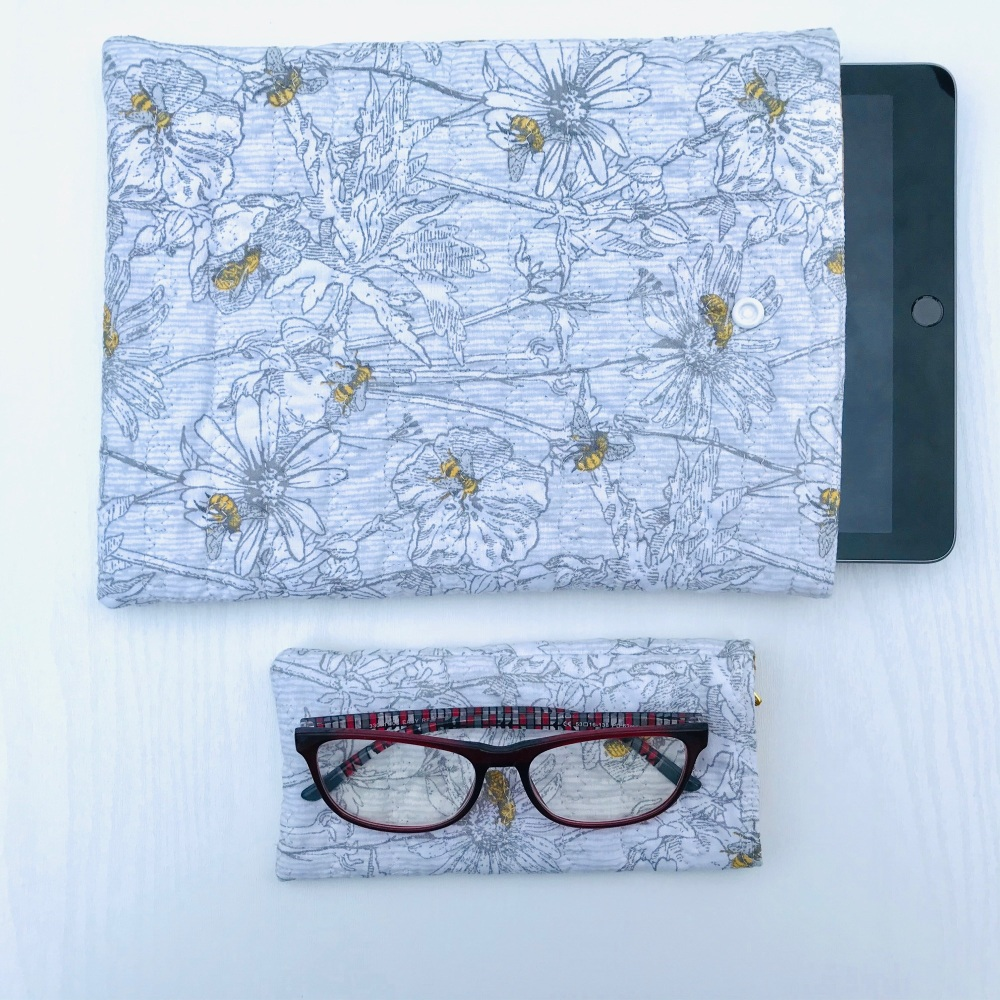 Bee and Flower themed quilted iPad/Tablet case and Glasses case set