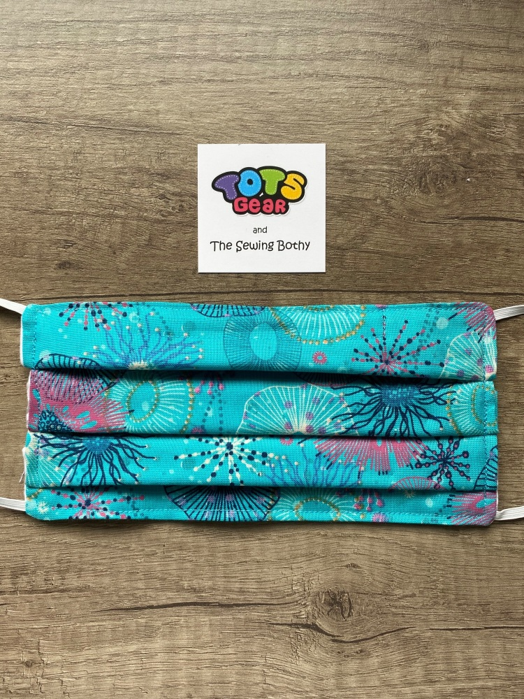 """Turquoise """"Reef"""" Cotton Face Mask - 4 sizes/options available to order"""