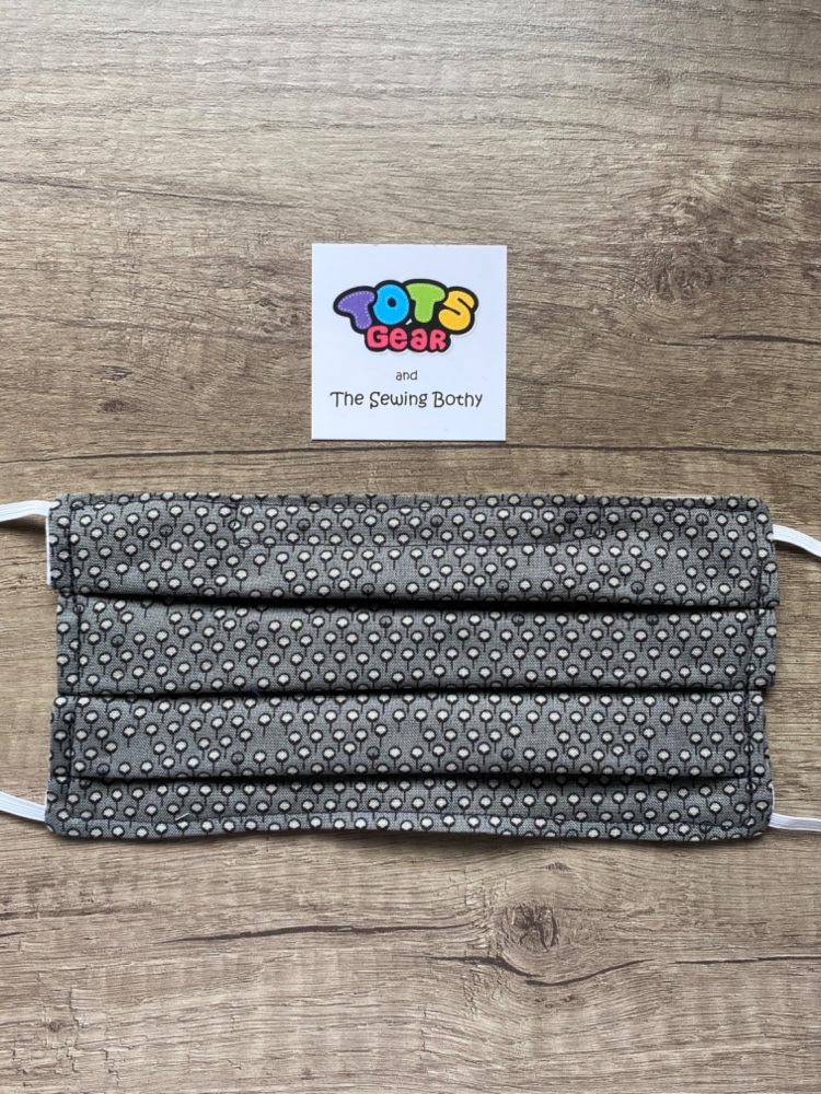 Grey Face Mask with small pattern - 4 sizes/options available to order