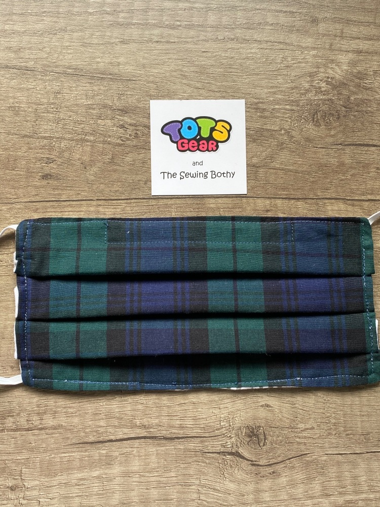 Black Watch Tartan Face Mask - 4 sizes/options available to order
