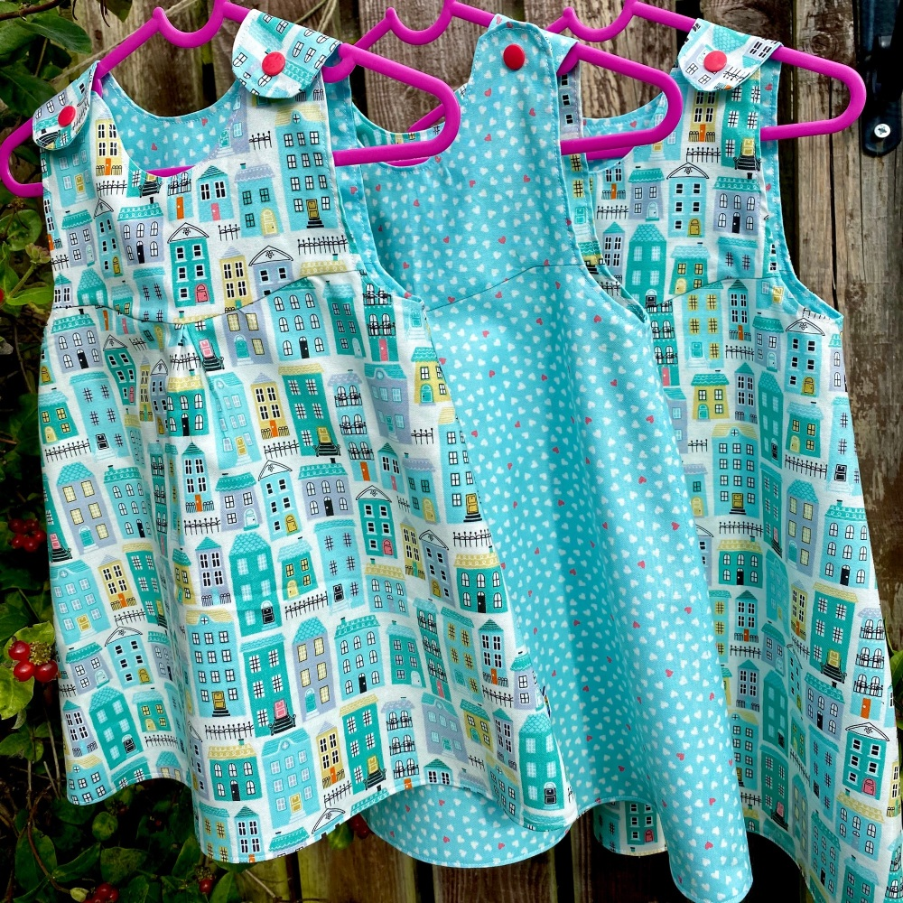 Homes and mini hearts turquoise Reversible Dress 3 years