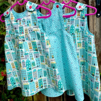 Homes and mini hearts turquoise Reversible Dress  -  18-24 months