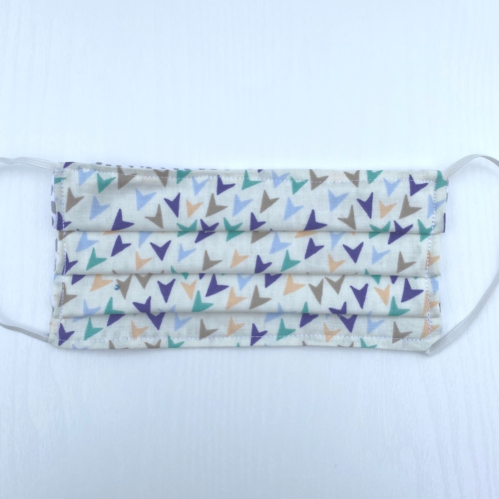 White Cotton Face Mask with white multi coloured arrows - made to order