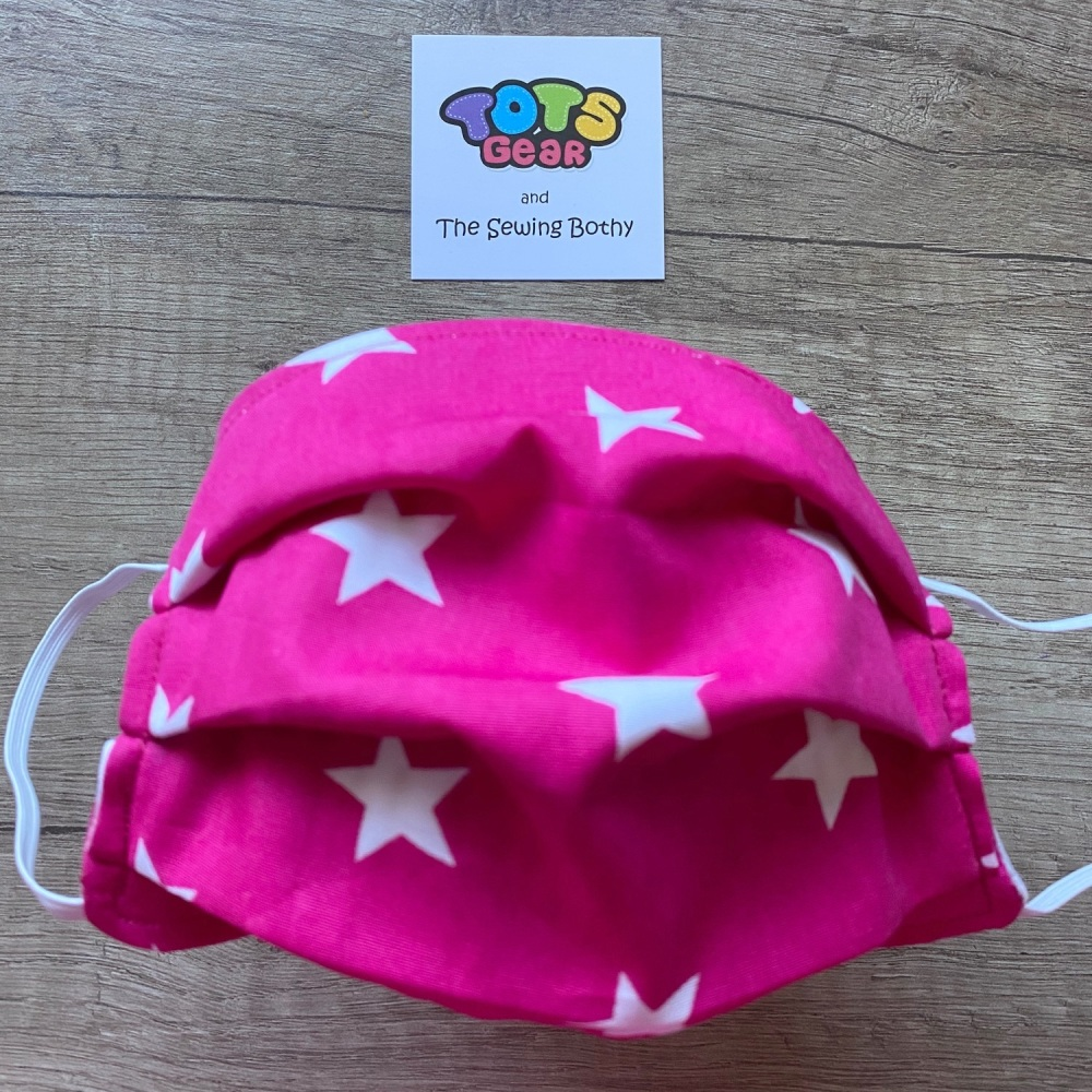 Bright Pink Face Mask with white stars - 4 sizes/options available -  made