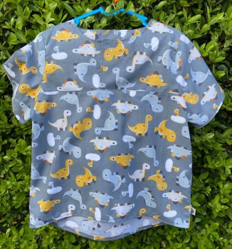 Grey Dinosaur Pull on Shirt with Mustard accents - 4 years