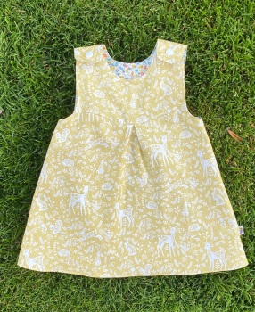 Mellow Yellow Forest theme and Mini flowers  Reversible Dress  -  in sizes up to 5 years