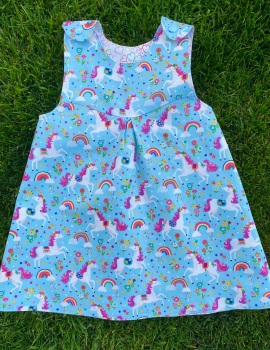 Turquoise Unicorn, Rainbows and mini hearts Reversible Dress  -  in sizes up to 5 years