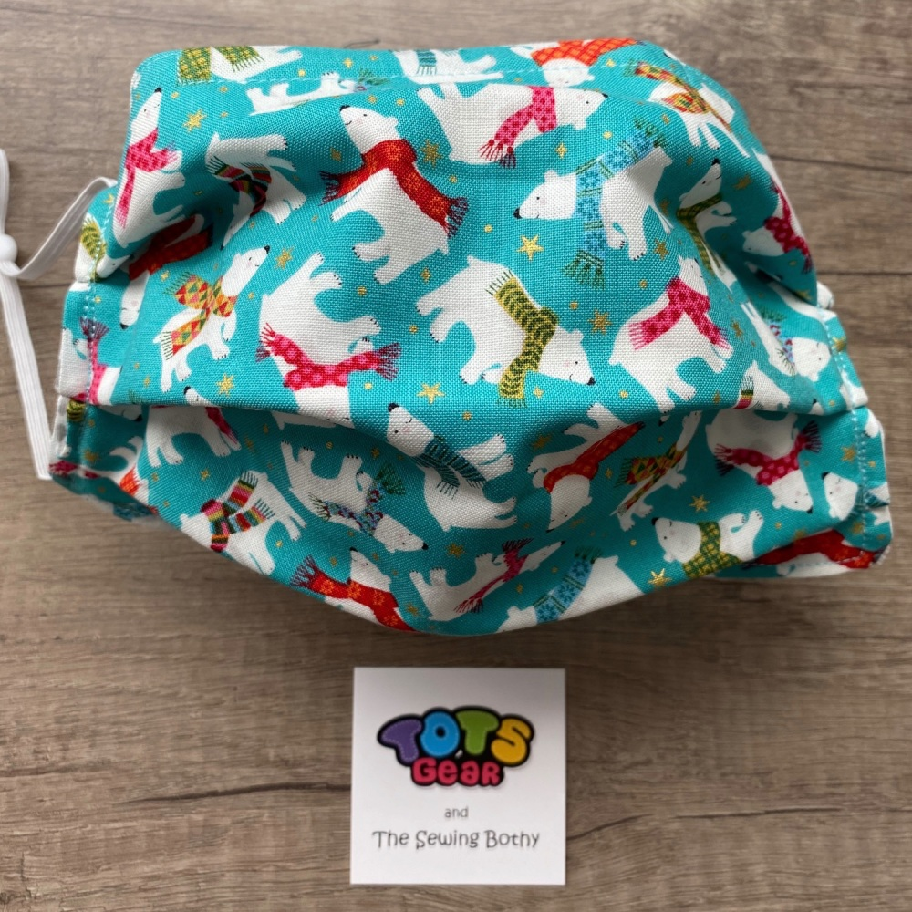 Christmas Polar Bears with Scarves Face Masks - 4 sizes/options available t