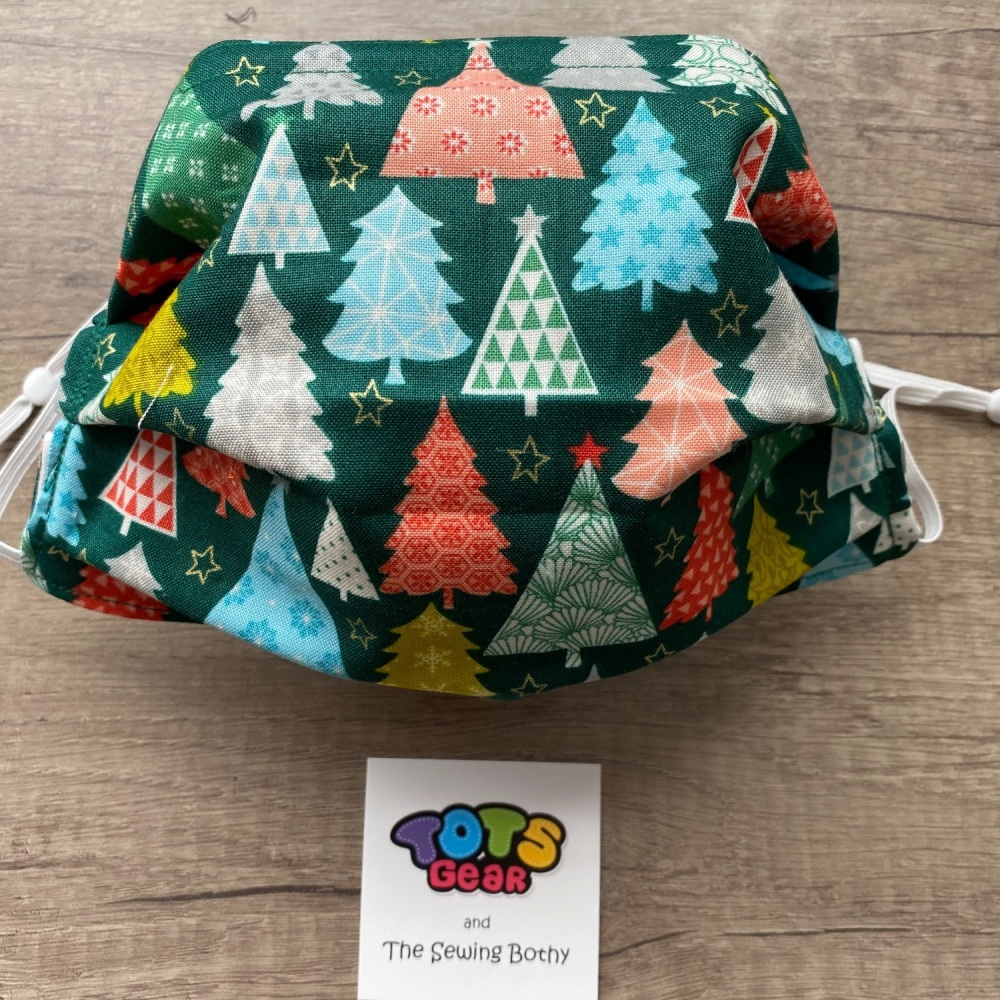Colourful Christmas Trees on Green Face Mask - 4 sizes/options available to
