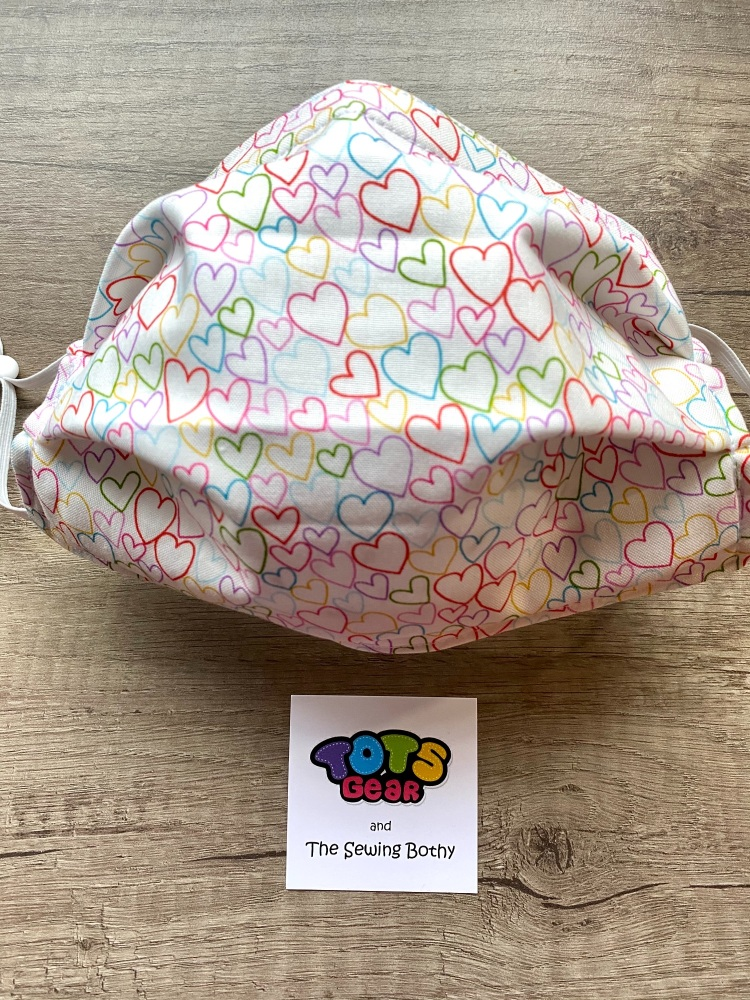 Multi coloured hearts on white Face Mask - 4 sizes/options available to ord
