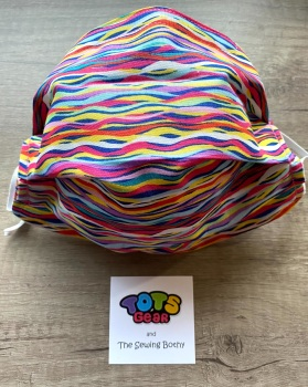Multi coloured hearts on white Face Mask - 4 sizes/options available to order