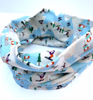 Ski Scene pattern organic cotton Snood (2 sizes available)