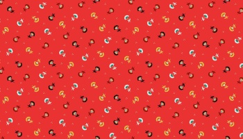 Folk Friends Range - Red Sprig fabric by Makeower - sold by the 0.5 metre