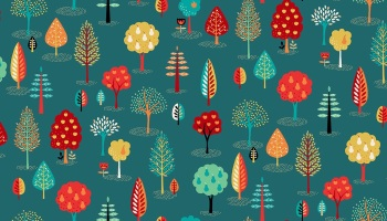 Folk Friends Range - Teal Trees fabric by Makeower - sold by the 0.5 metre