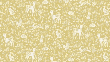 Clara's Garden Yellow with white Animal Fabric by Makower - sold by the 0.5 metre