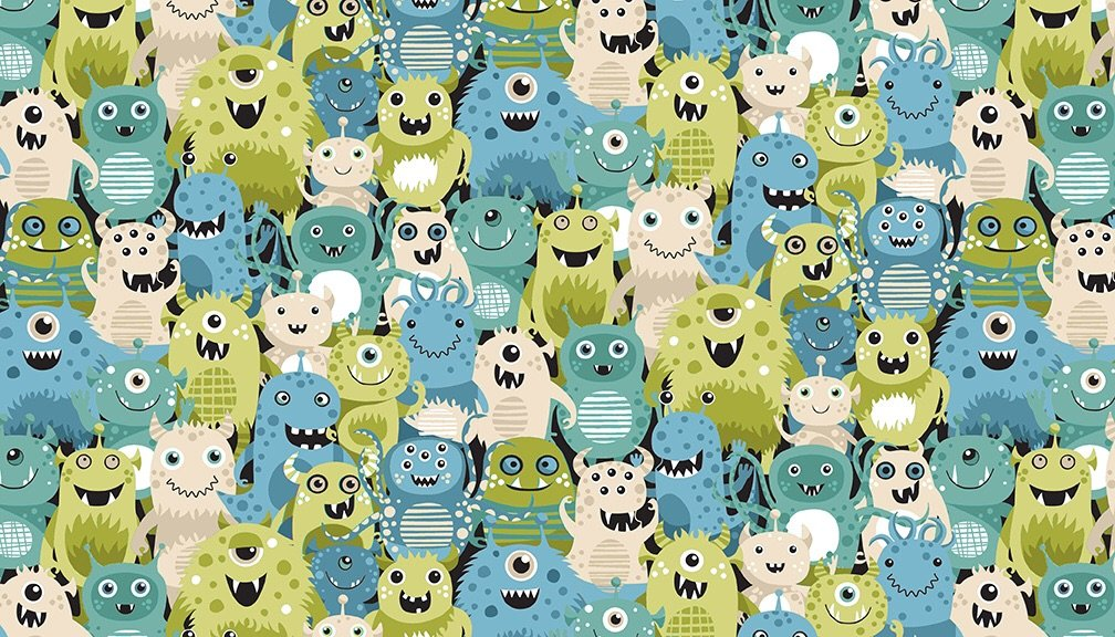 Outer space Aliens (Green) fabric by Makeower - sold by the 0.5 metre