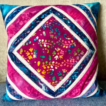 Quilted Patchwork Cushion Cover in Pinks and Blues