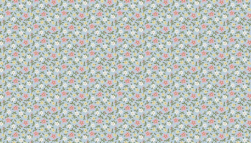 Clara's Garden - Mini Floral pattern  Fabric by Makower - sold by the 0.5 m