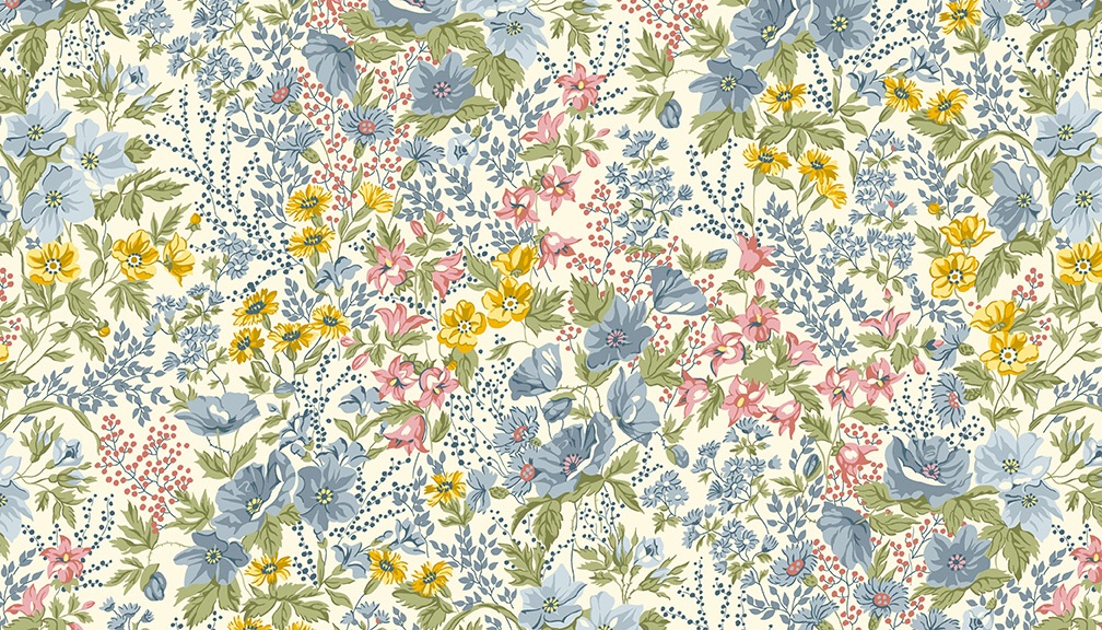 Mayflower - Mini flowers on light blue Fabric by ANDOVER - sold by the 0.5