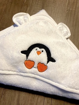 Hooded Baby Towel  (with ears) - Penguin (with option to personalise)