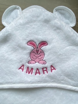 Hooded Baby Towel - Bunny  (3 thread colour choices with option to personalise)