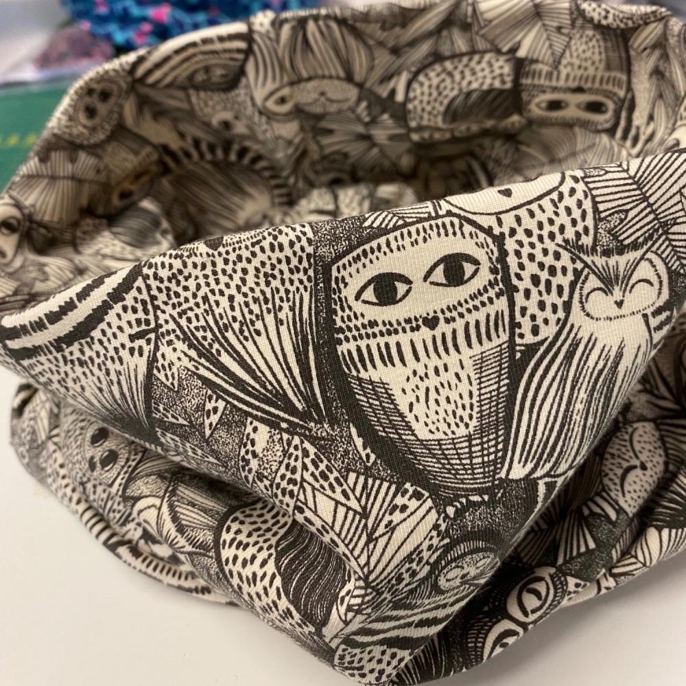 Owl design Dusky Pink Organic Stretch Jersey cotton Snood (4 size options a