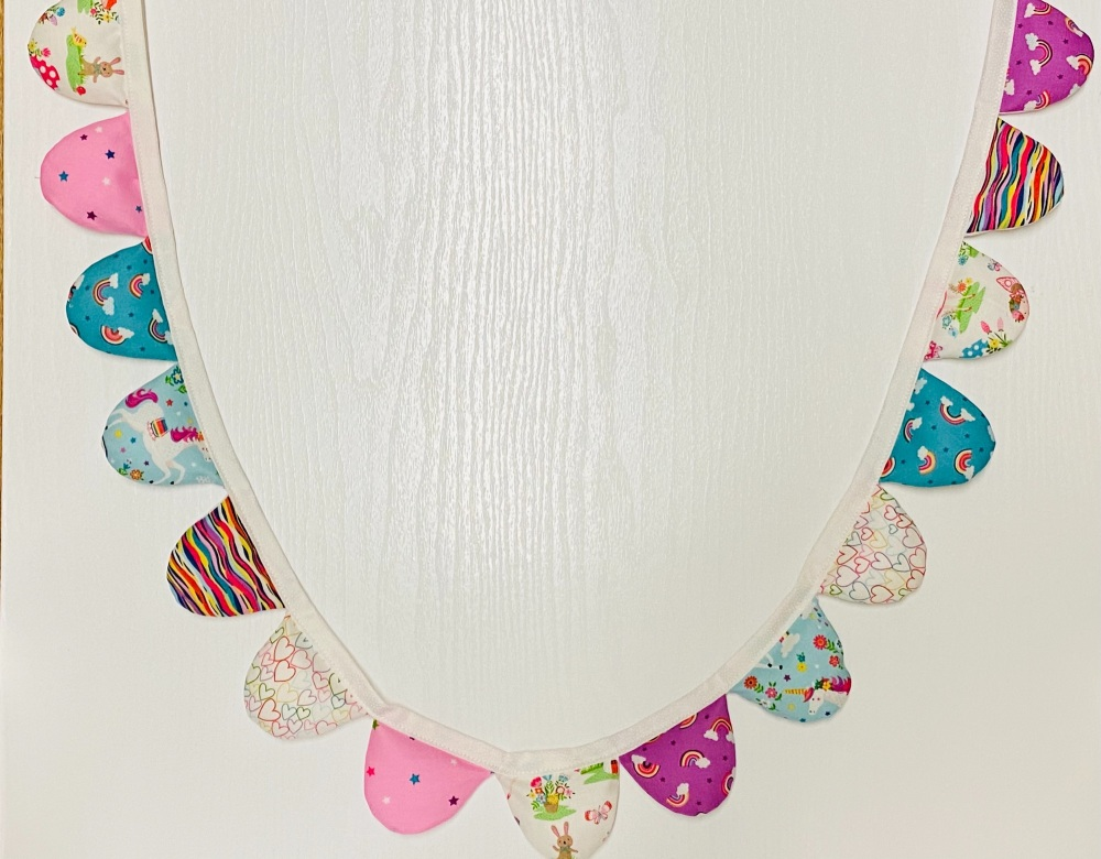 Bunting (pinks, turquoise) with Fairies, Hearts, Unicorns, Stars and Rainbo