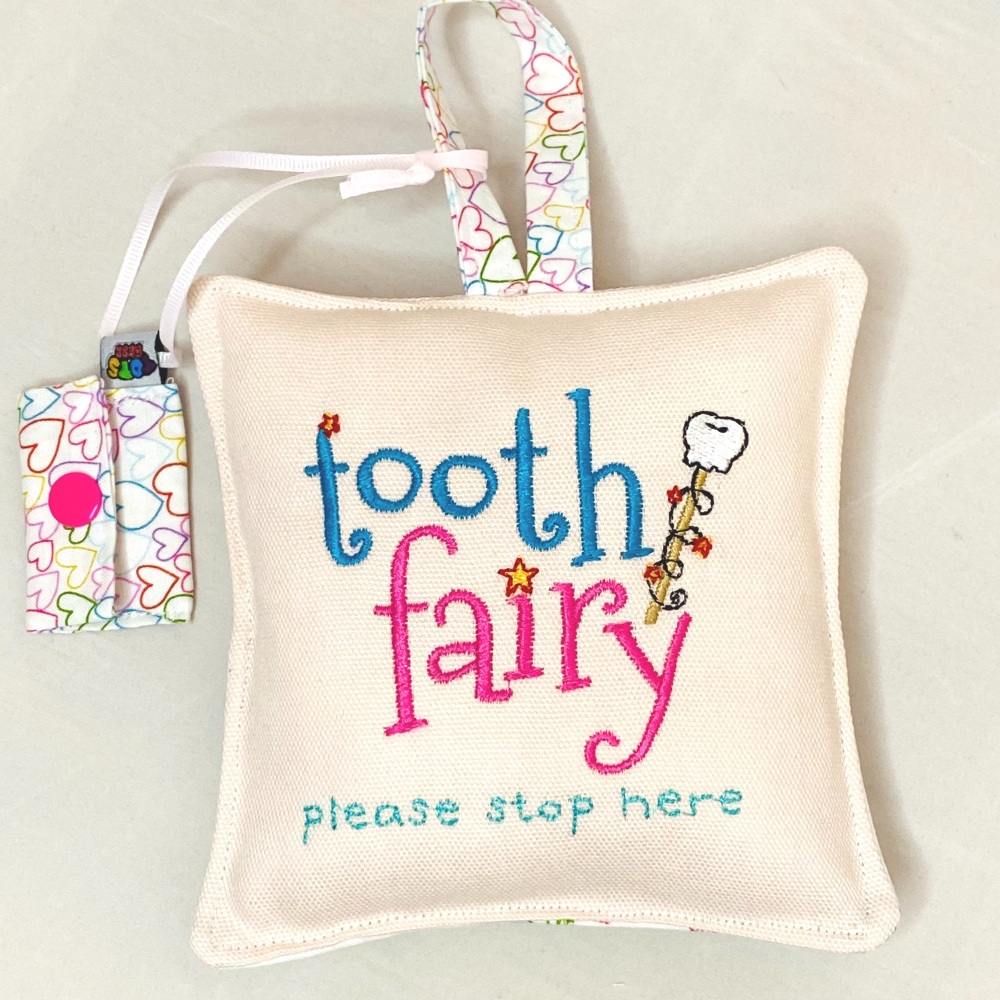Pink Embroidered Tooth Fairy Pillow