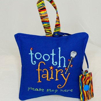 Blue Embroidered Tooth Fairy Pillow