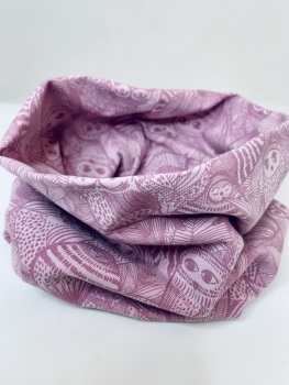 Dusky Pink Owl Design Organic Stretch Jersey cotton Snood (4 size options available)