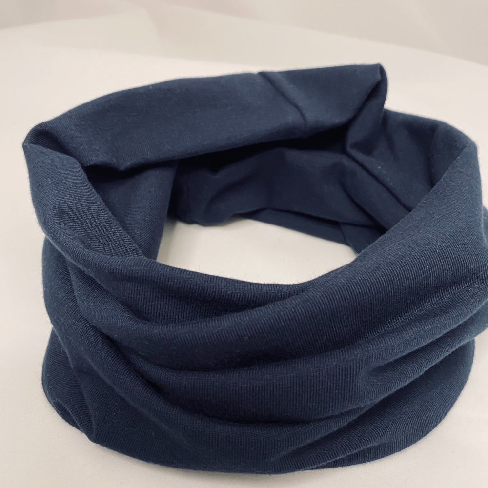Navy Blue Stretch Organic Jersey cotton Snood (4 size options available)