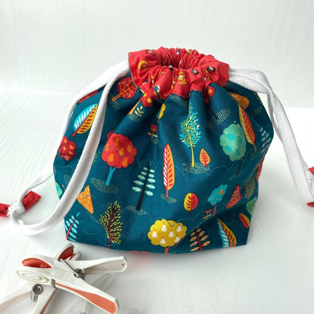 Peg Bag or Hobby Bag  - Grey and yellow birds and flowers