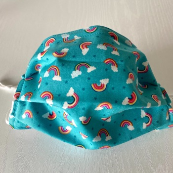 Turquoise cloth Face Mask with mini Rainbows and Clouds - 4 sizes/options available to order