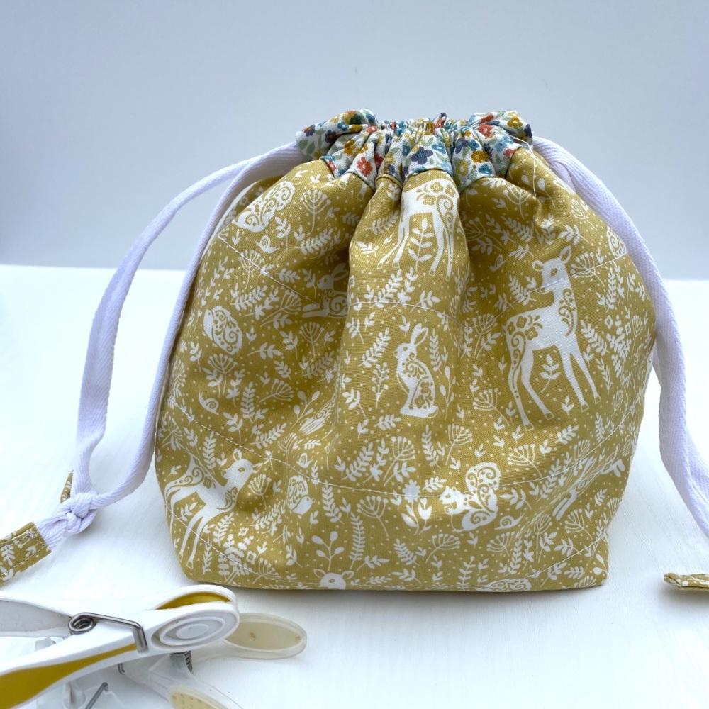 Peg Bag or Hobby Bag  - Blue Floral