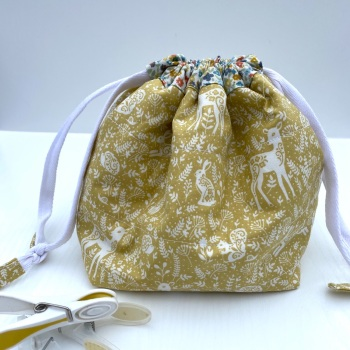 Peg Bag or Hobby Bag  - Mustard coloured Forest and Flower Theme