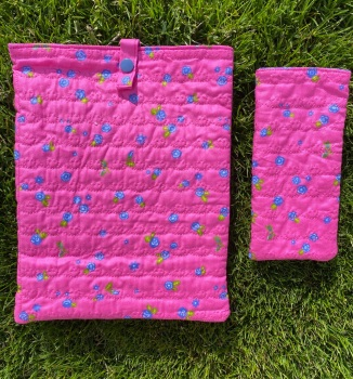 Pink with mini Purple flowers Quilted Reading Glasses Case and matching iPad cover