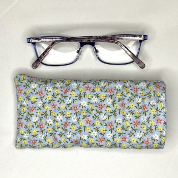 Light Blue quilted reading glasses case with tiny flowers