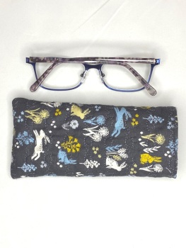 Grey Soft cotton quilted reading glasses case with Hares in the Meadow design
