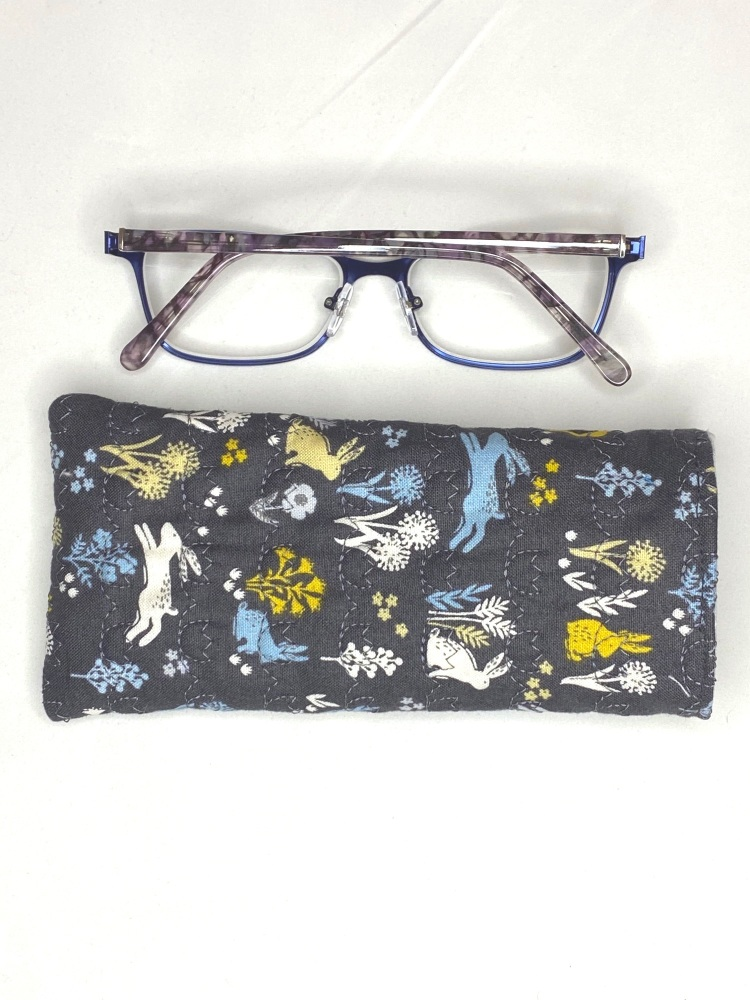 Grey Soft cotton quilted reading glasses case with Hares and Meadow design