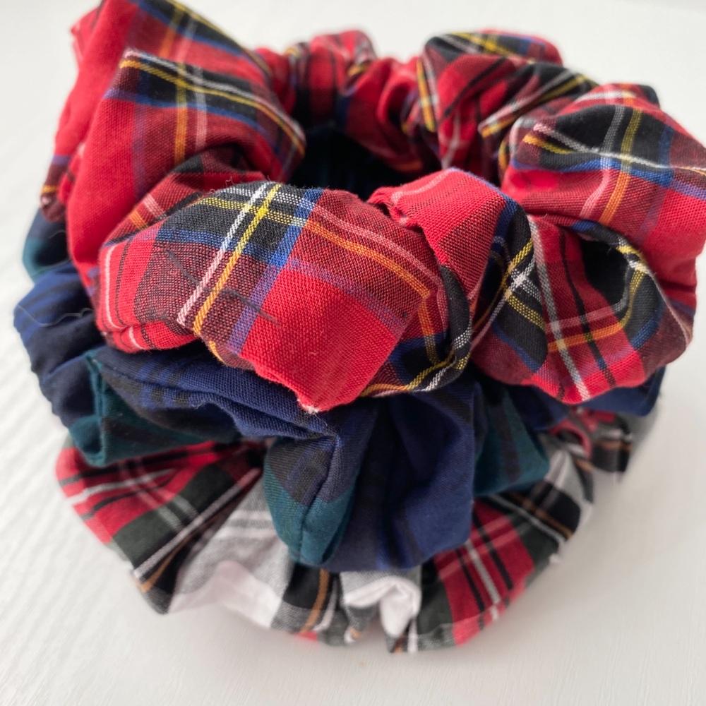 Set of Three Tartan Hair Scrunchies