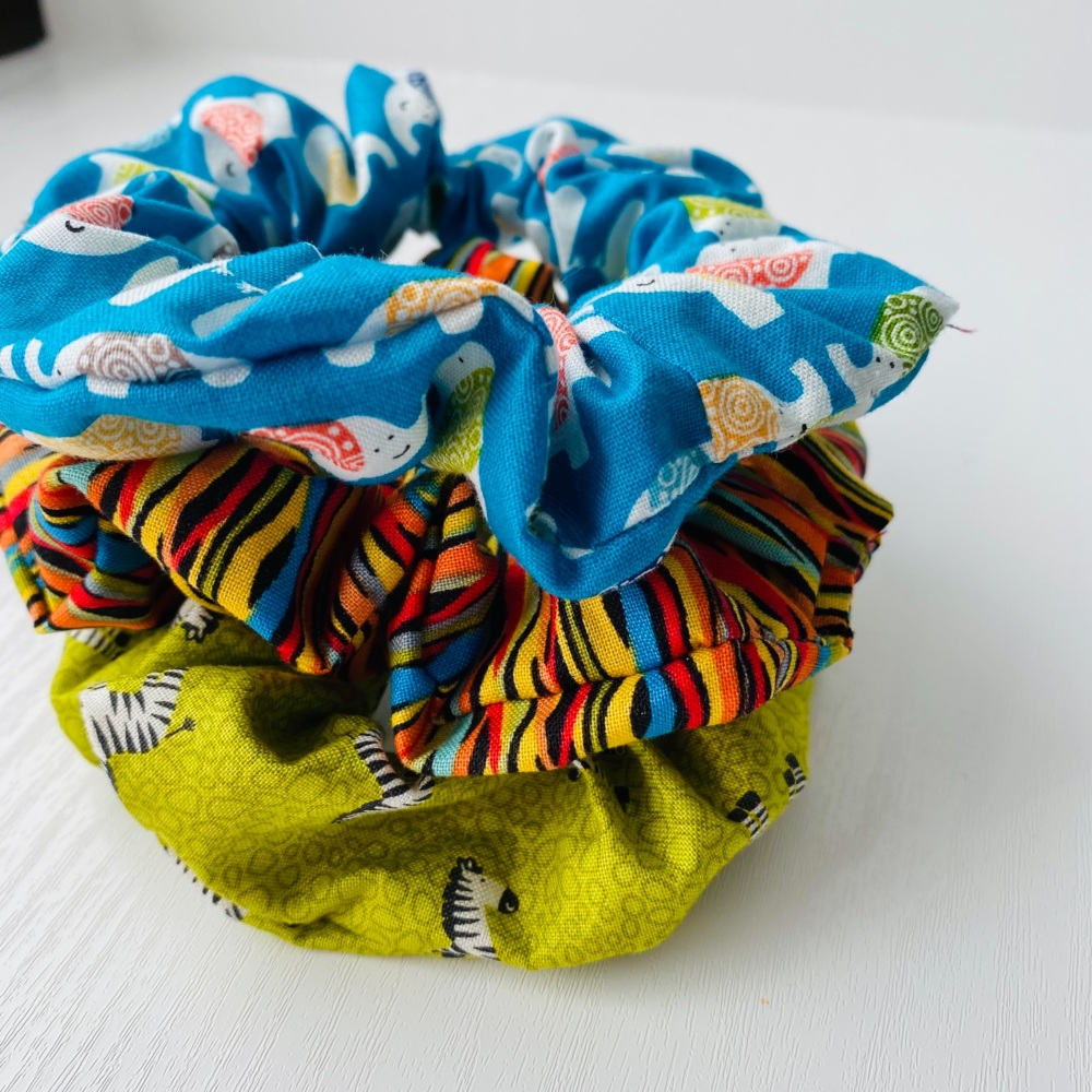 Set of 3 Jungle themed Hair Scrunchies