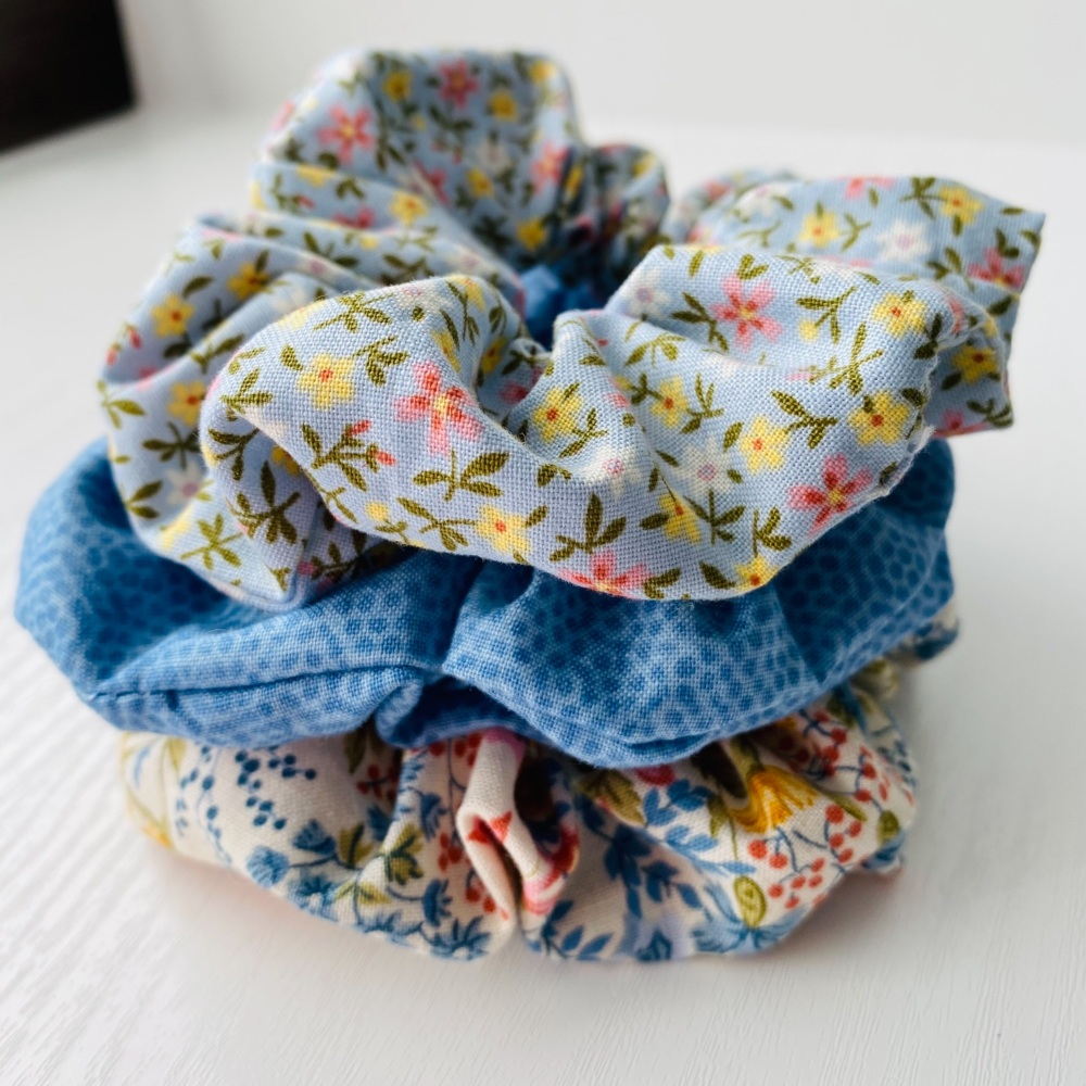 Set of 3 Floral and Blue Scrunchies