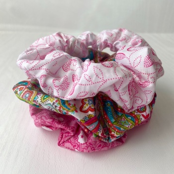 Set of Three Pink Hair Scrunchies in Fabrics from the Monsoon Range by Makower