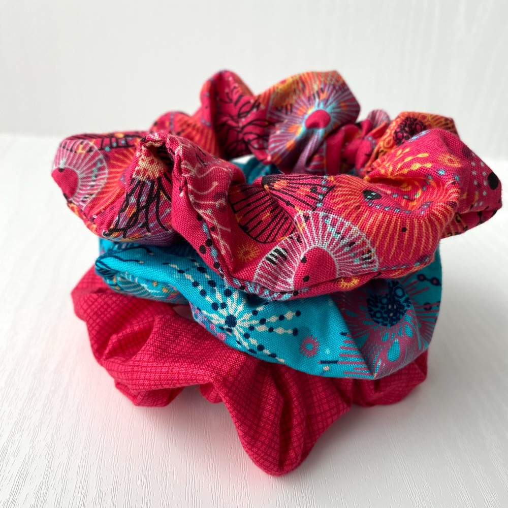 Set of Three Hair Scrunchies in Fabrics from the Reef Range by Makower