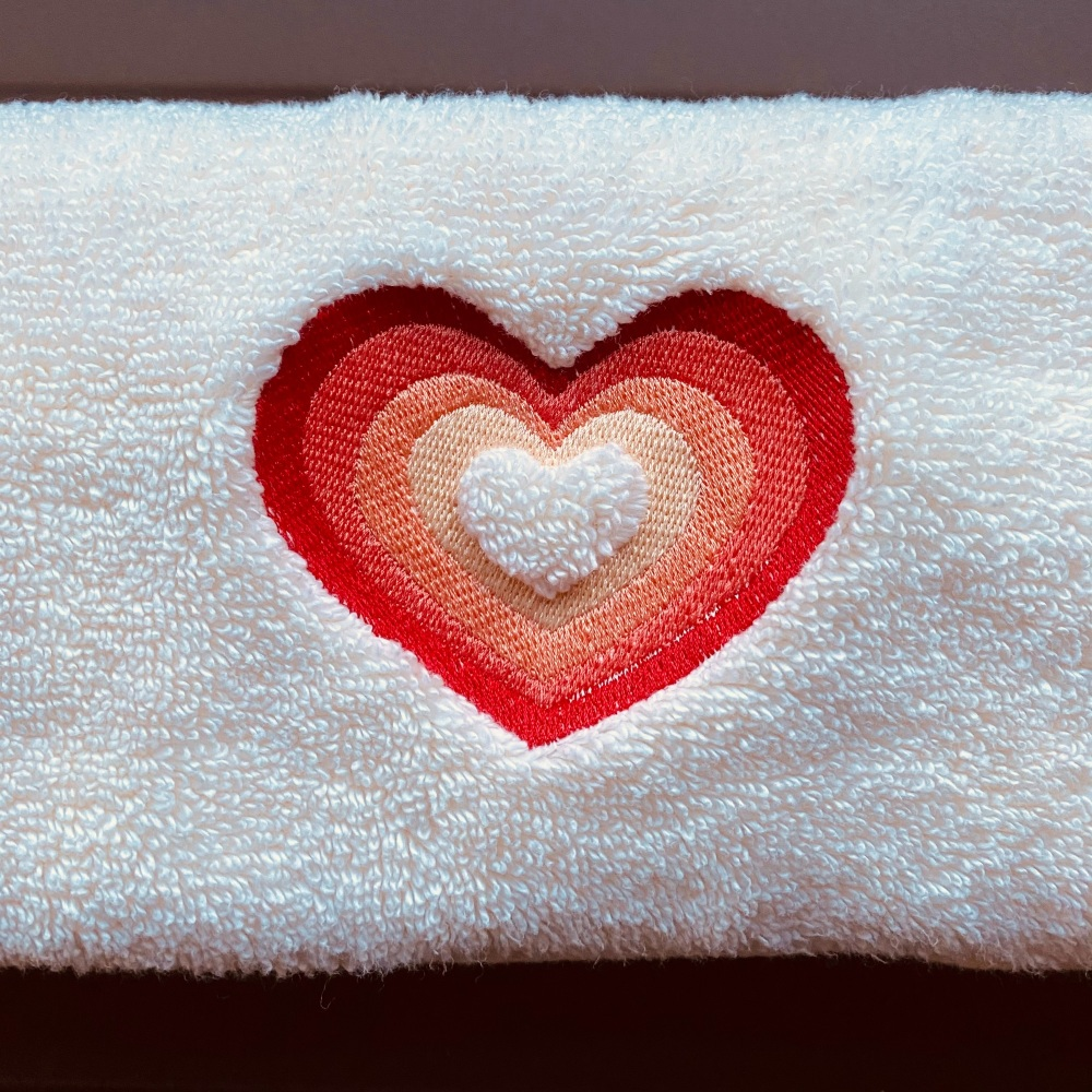Peach and Cream embroidered Heart hand towel