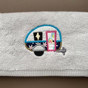 Luxury Caravan Applique Hand Towel (choice of 4 towel colours)