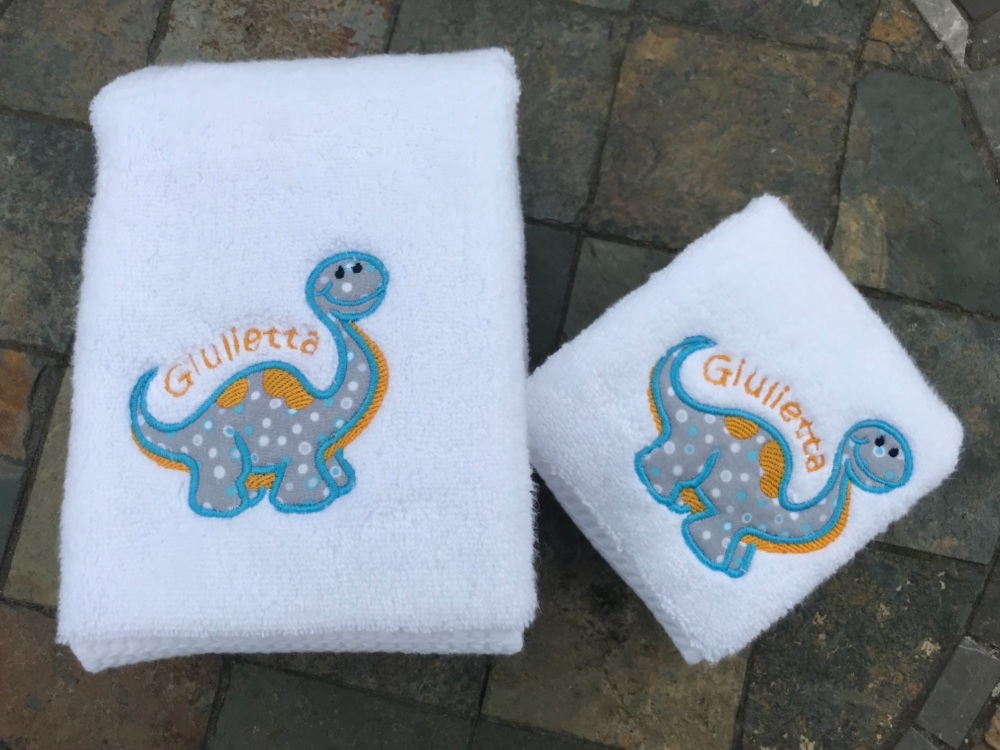 Dinosaur  Applique luxury hand towel and facecloth set (with option to pers