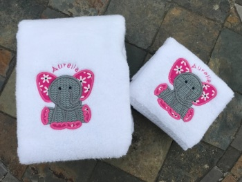 Elephant  Applique luxury hand towel and facecloth set (choice of colours with option to personalise)